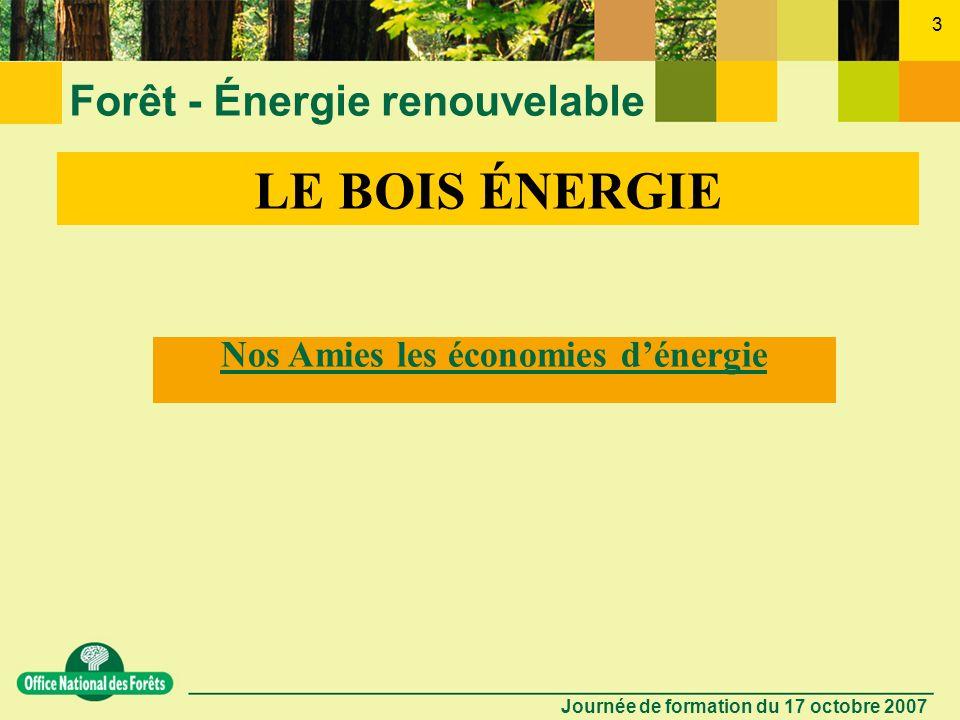 Journée de formation du 17 octobre 2007 2 Forêt - Énergie renouvelable LONF, créé en 1966, succède à ladministration des Eaux et Forêts. Établissement