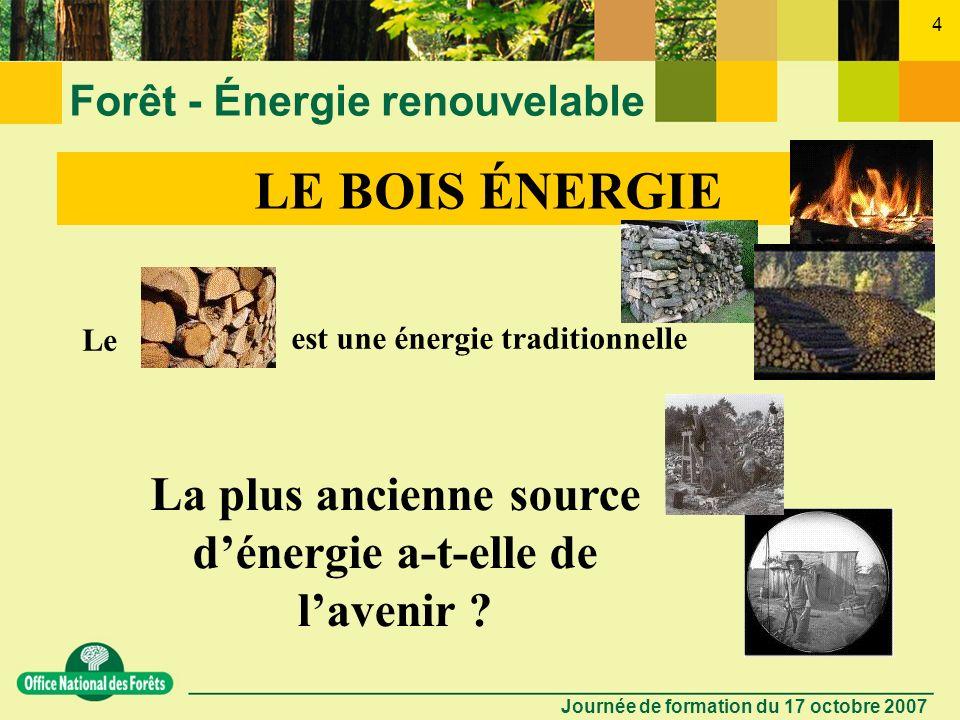 Journée de formation du 17 octobre 2007 3 Forêt - Énergie renouvelable LE BOIS ÉNERGIE Nos Amies les économies dénergie