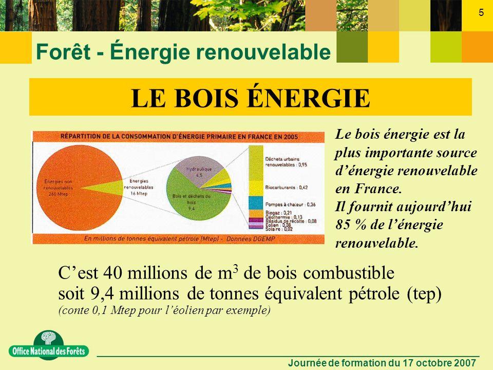 Journée de formation du 17 octobre 2007 4 Forêt - Énergie renouvelable LE BOIS ÉNERGIE Le est une énergie traditionnelle La plus ancienne source déner