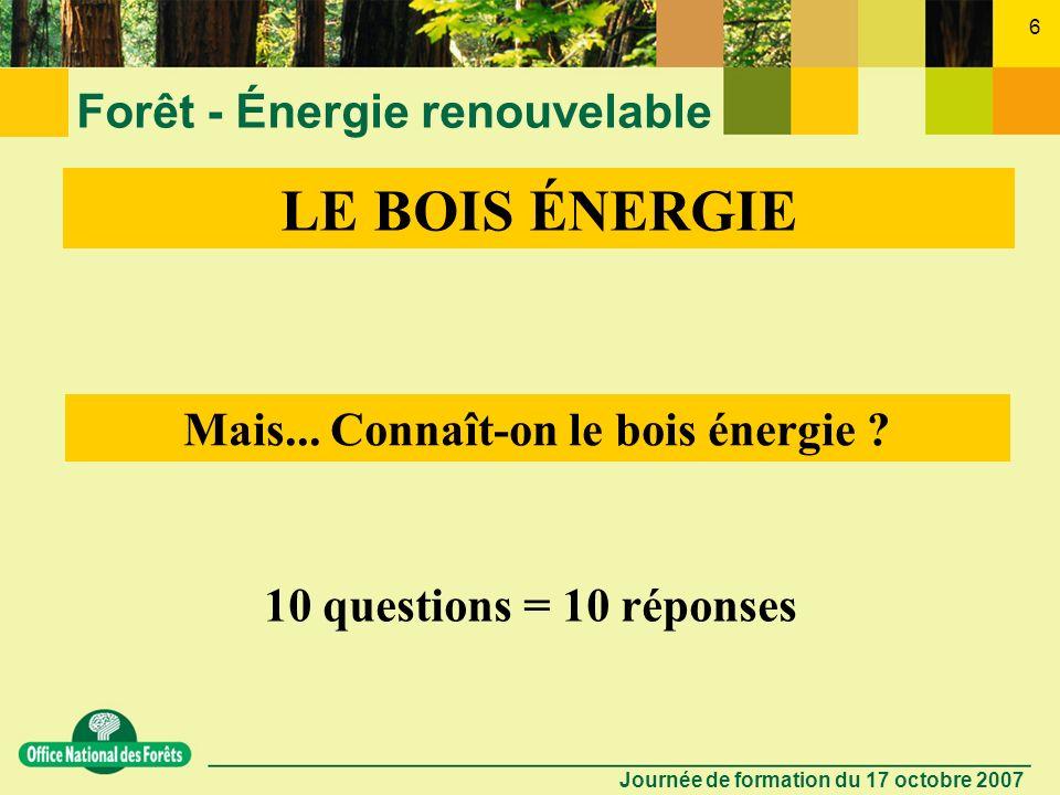Journée de formation du 17 octobre 2007 5 Forêt - Énergie renouvelable LE BOIS ÉNERGIE Le bois énergie est la plus importante source dénergie renouvel