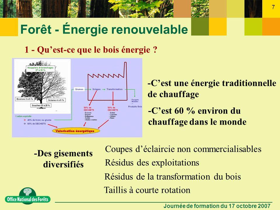 Journée de formation du 17 octobre 2007 6 Forêt - Énergie renouvelable LE BOIS ÉNERGIE Mais... Connaît-on le bois énergie ? 10 questions = 10 réponses