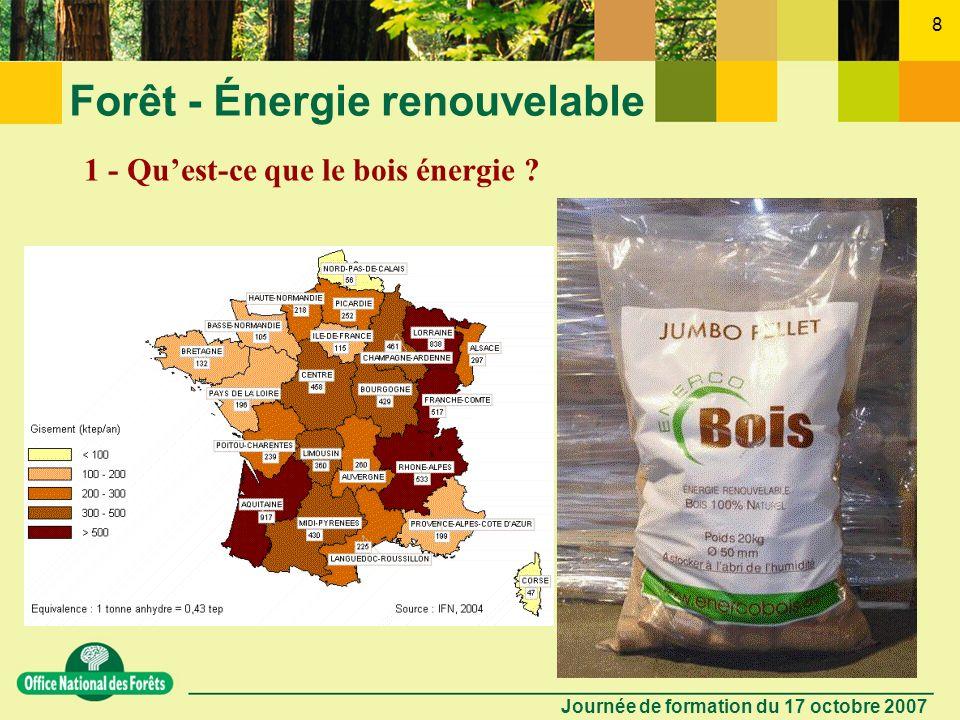 Journée de formation du 17 octobre 2007 7 Forêt - Énergie renouvelable 1 - Quest-ce que le bois énergie ? -Cest une énergie traditionnelle de chauffag