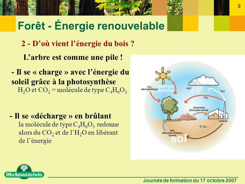 Journée de formation du 17 octobre 2007 8 Forêt - Énergie renouvelable 1 - Quest-ce que le bois énergie ?