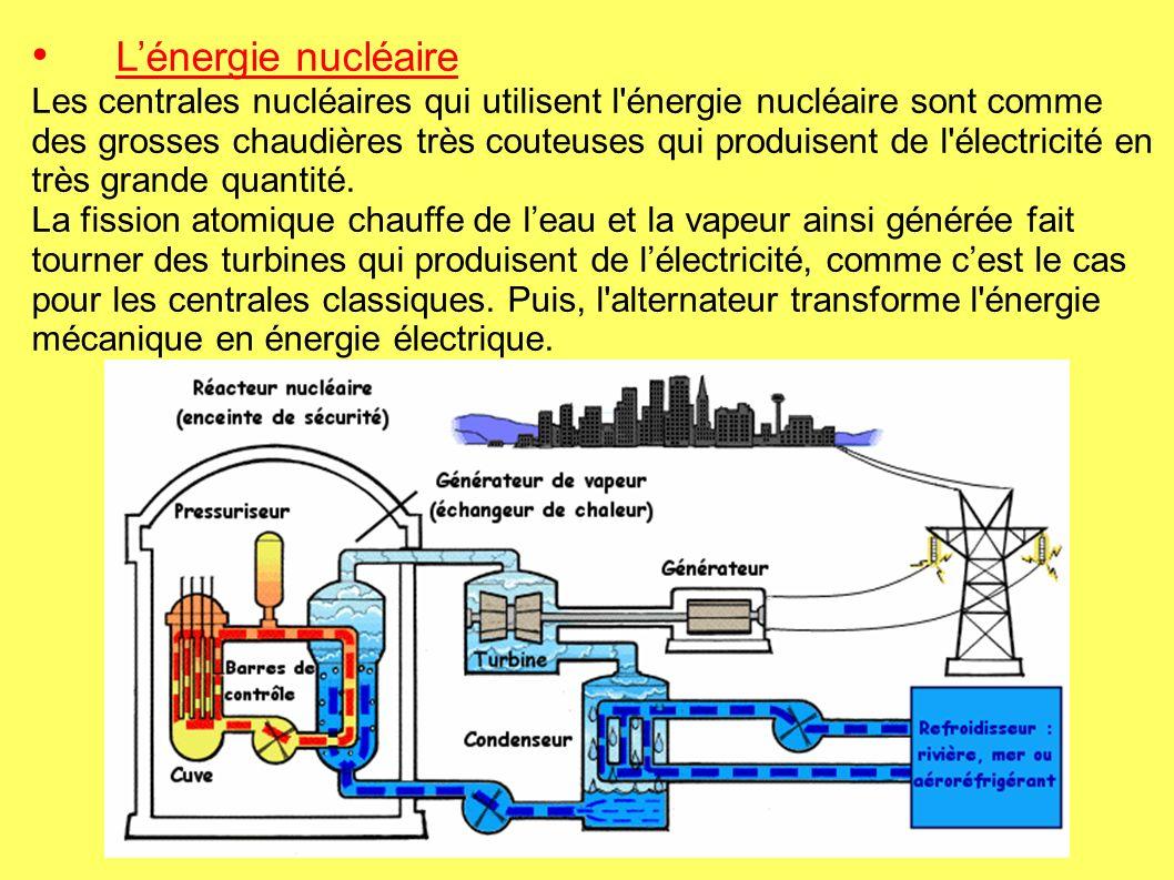 Lénergie nucléaire Les centrales nucléaires qui utilisent l énergie nucléaire sont comme des grosses chaudières très couteuses qui produisent de l électricité en très grande quantité.