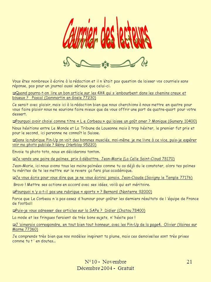 N°10 - Novembre Décembre 2004 - Gratuit 21 Vous êtes nombreux à écrire à la rédaction et il n était pas question de laisser vos courriels sans réponse, pas pour un journal aussi sérieux que celui-ci.