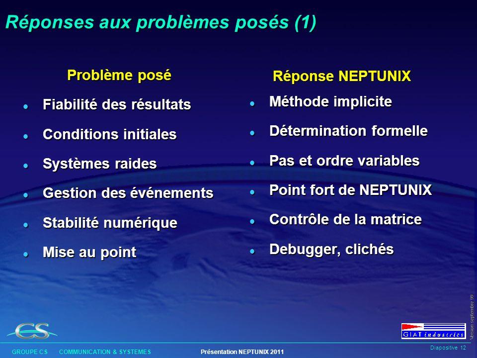 Diapositive 11 GROUPE CS COMMUNICATION & SYSTEMESPrésentation NEPTUNIX 2011 Version septembre 99 Historique l 1980 : Début du projet au CEA SACLAY, su