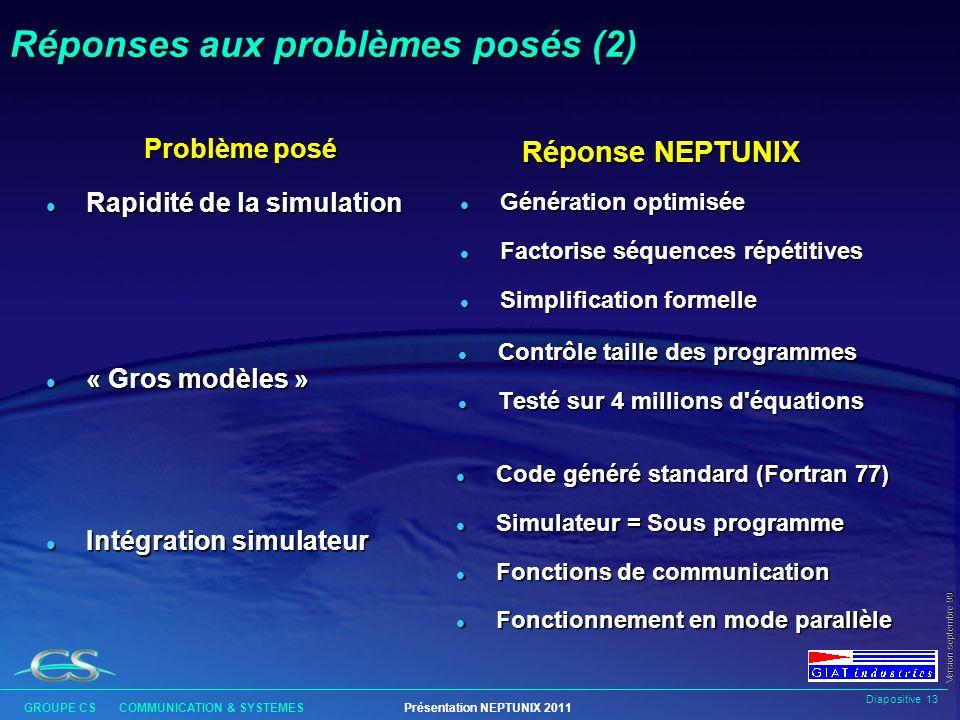Diapositive 12 GROUPE CS COMMUNICATION & SYSTEMESPrésentation NEPTUNIX 2011 Version septembre 99 Réponses aux problèmes posés (1) Problème posé l Fiab
