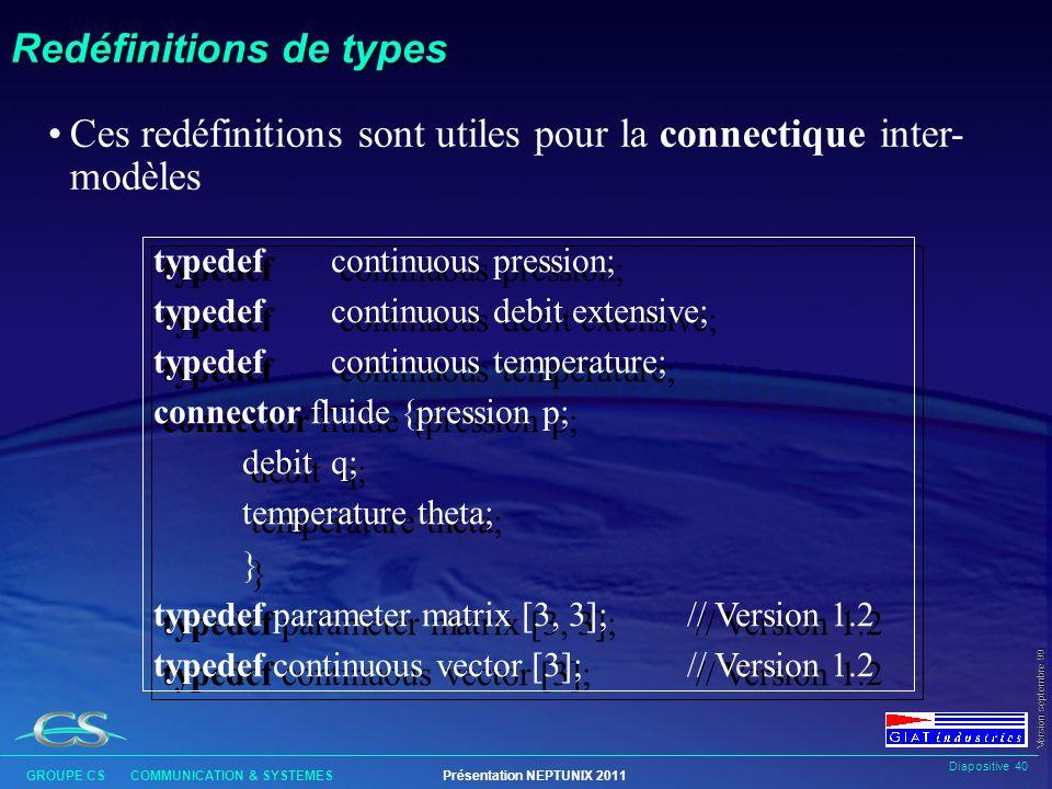 Diapositive 39 GROUPE CS COMMUNICATION & SYSTEMESPrésentation NEPTUNIX 2011 Version septembre 99 Appels de modèles l Généralement, un modèle est suffi