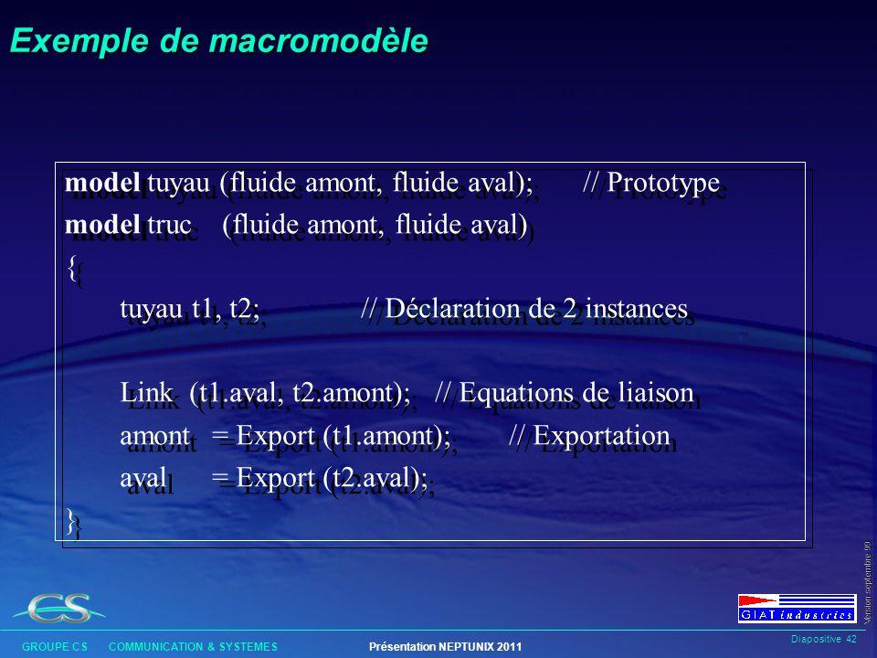 Diapositive 41 GROUPE CS COMMUNICATION & SYSTEMESPrésentation NEPTUNIX 2011 Version septembre 99 Entête des modèles Lentête des modèles est la partie