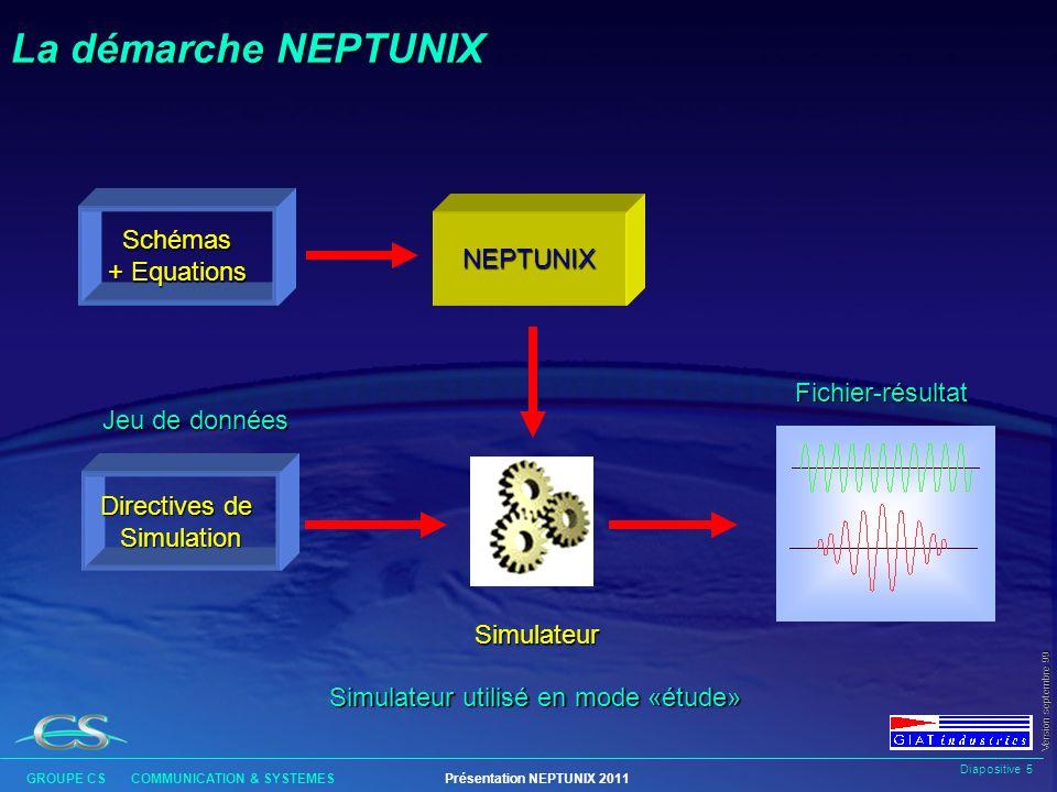 Diapositive 4 GROUPE CS COMMUNICATION & SYSTEMESPrésentation NEPTUNIX 2011 Version septembre 99 NEPTUNIX est un outil à caractère général destiné à mo