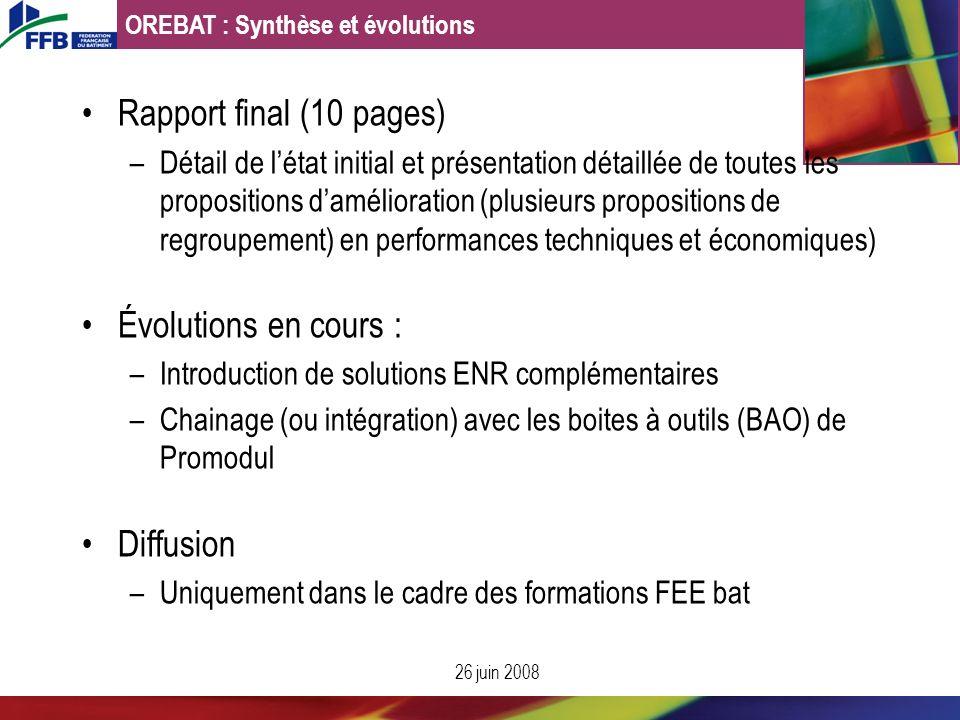 Rapport final (10 pages) –Détail de létat initial et présentation détaillée de toutes les propositions damélioration (plusieurs propositions de regrou