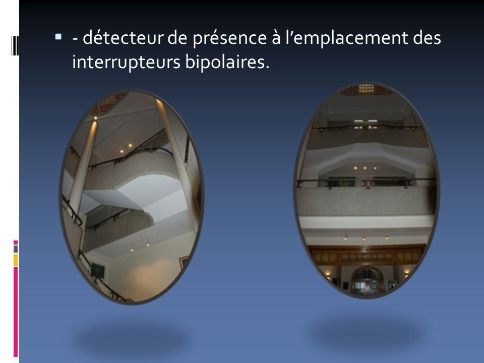 - détecteur de présence à lemplacement des interrupteurs bipolaires.