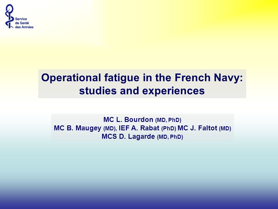 NATO/RTO/HFM : Operational Fatigue in the French Navy Diapositive n°2 fatigue onboard.