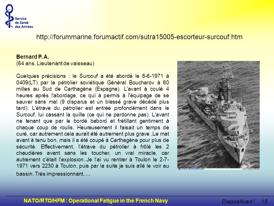 NATO/RTO/HFM : Operational Fatigue in the French Navy Diapositive n°15 Bernard P. A. (64 ans, Lieutenant de vaisseau) Quelques précisions : le Surcouf