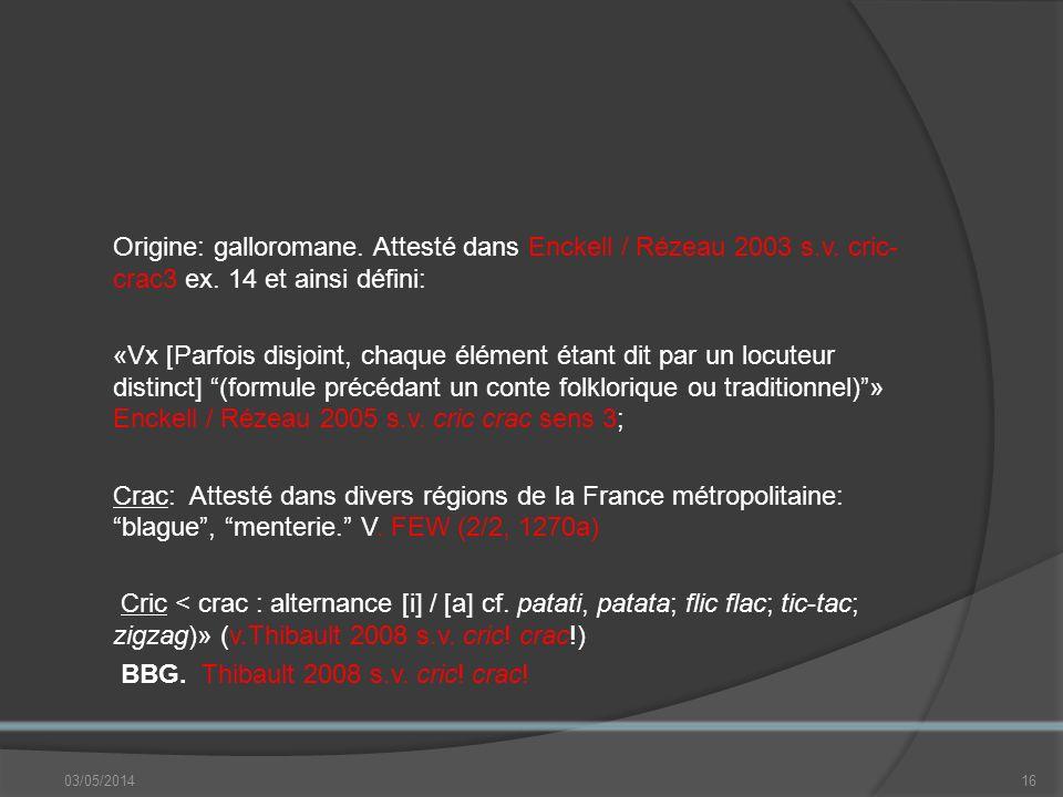 Origine: galloromane.Attesté dans Enckell / Rézeau 2003 s.v.