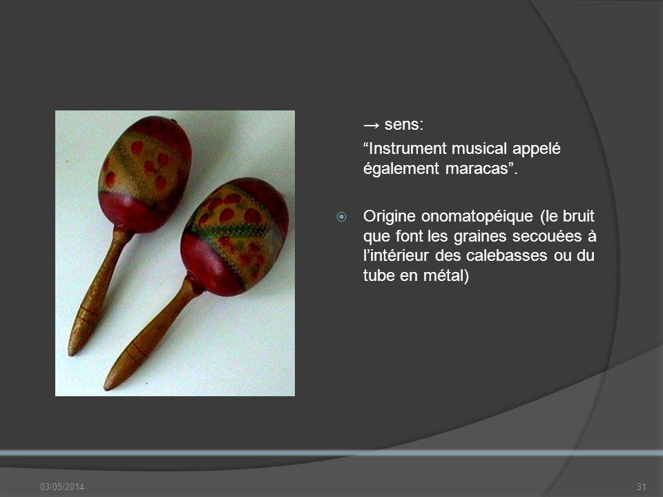 03/05/201431 sens: Instrument musical appelé également maracas.