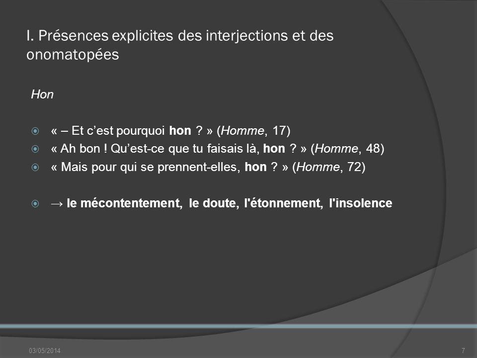 II.Présences implicites des interjections / onomatopées Bankoulélé N.