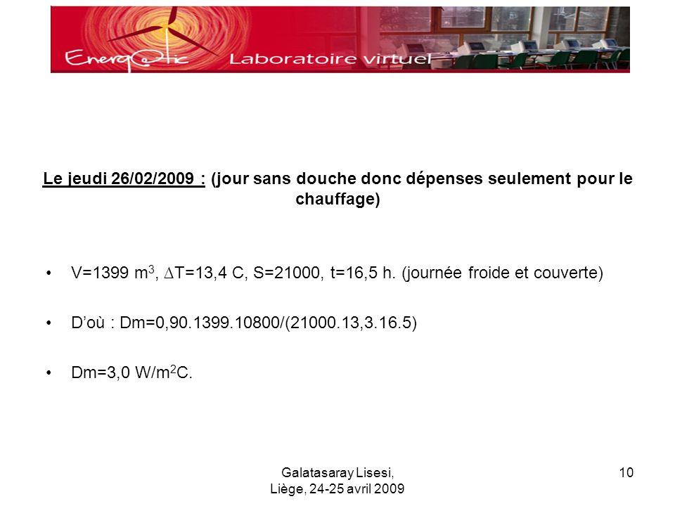 Galatasaray Lisesi, Liège, 24-25 avril 2009 10 Le jeudi 26/02/2009 : (jour sans douche donc dépenses seulement pour le chauffage) V=1399 m 3, T=13,4 C, S=21000, t=16,5 h.