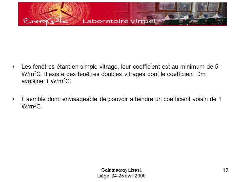 Galatasaray Lisesi, Liège, 24-25 avril 2009 13 Les fenêtres étant en simple vitrage, leur coefficient est au minimum de 5 W/m 2 C.