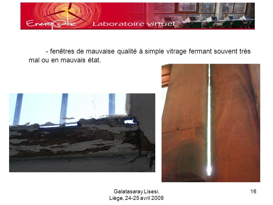 Galatasaray Lisesi, Liège, 24-25 avril 2009 16 - fenêtres de mauvaise qualité à simple vitrage fermant souvent très mal ou en mauvais état.