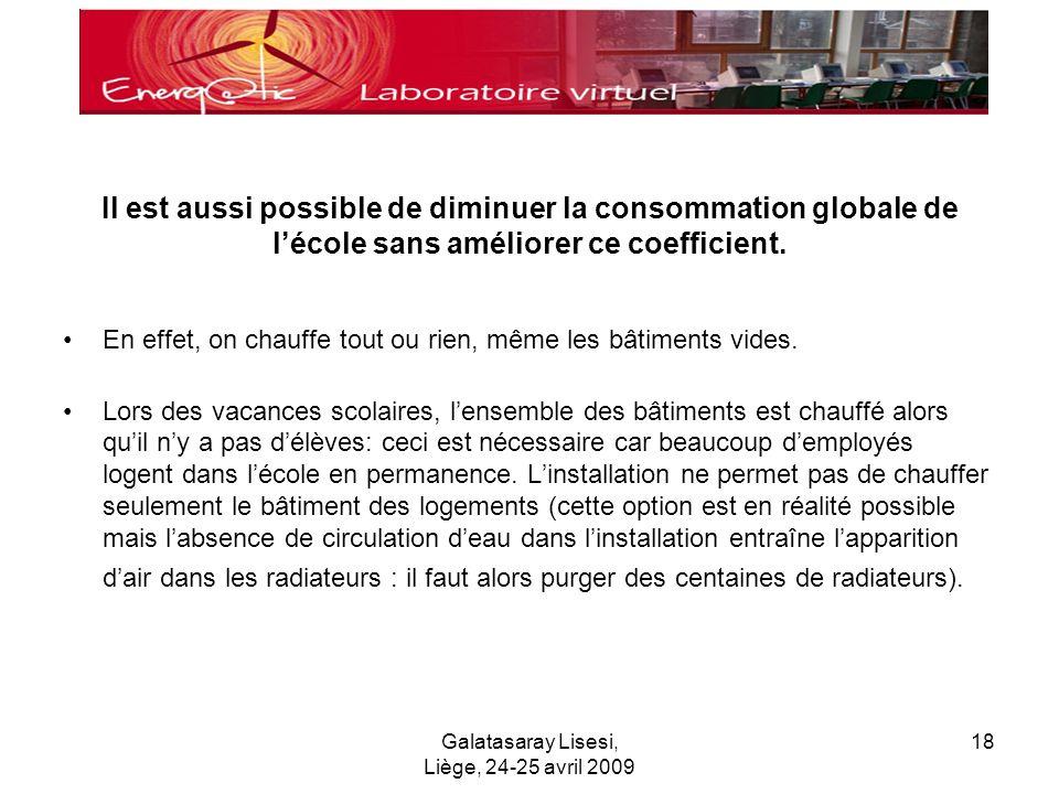 Galatasaray Lisesi, Liège, 24-25 avril 2009 18 Il est aussi possible de diminuer la consommation globale de lécole sans améliorer ce coefficient.