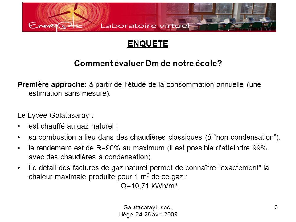 Galatasaray Lisesi, Liège, 24-25 avril 2009 3 Comment évaluer Dm de notre école.