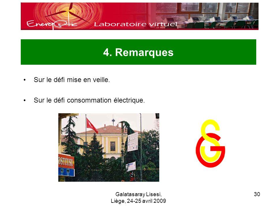 Galatasaray Lisesi, Liège, 24-25 avril 2009 30 4. Remarques Sur le défi mise en veille.