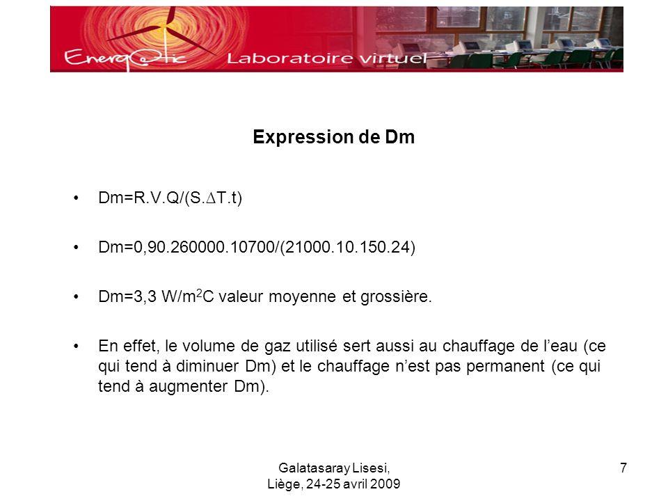 Galatasaray Lisesi, Liège, 24-25 avril 2009 7 Expression de Dm Dm=R.V.Q/(S.T.t) Dm=0,90.260000.10700/(21000.10.150.24) Dm=3,3 W/m 2 C valeur moyenne et grossière.