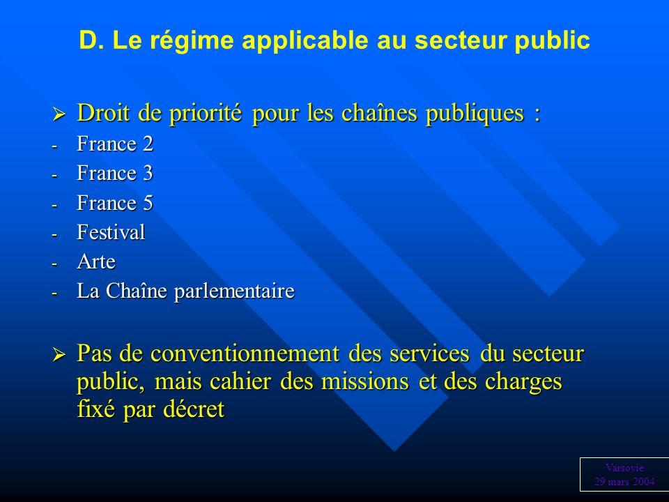 D. Le régime applicable au secteur public Droit de priorité pour les chaînes publiques : Droit de priorité pour les chaînes publiques : - France 2 - F