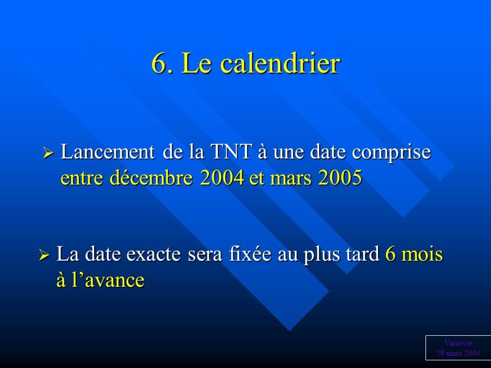 6. Le calendrier Lancement de la TNT à une date comprise entre décembre 2004 et mars 2005 Lancement de la TNT à une date comprise entre décembre 2004