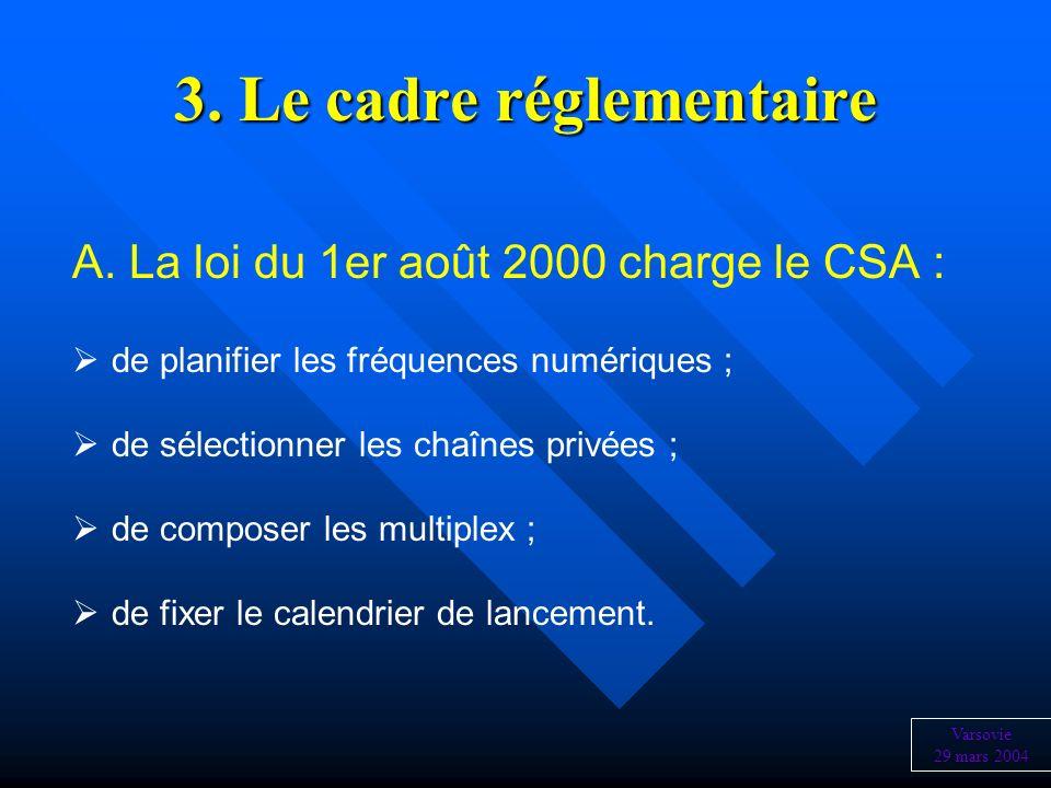 3. Le cadre réglementaire A. La loi du 1er août 2000 charge le CSA : de planifier les fréquences numériques ; de sélectionner les chaînes privées ; de
