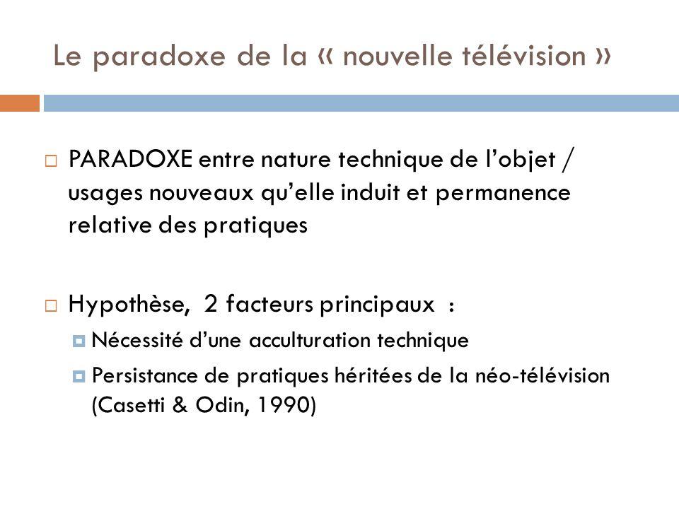 Le paradoxe de la « nouvelle télévision » PARADOXE entre nature technique de lobjet / usages nouveaux quelle induit et permanence relative des pratiqu