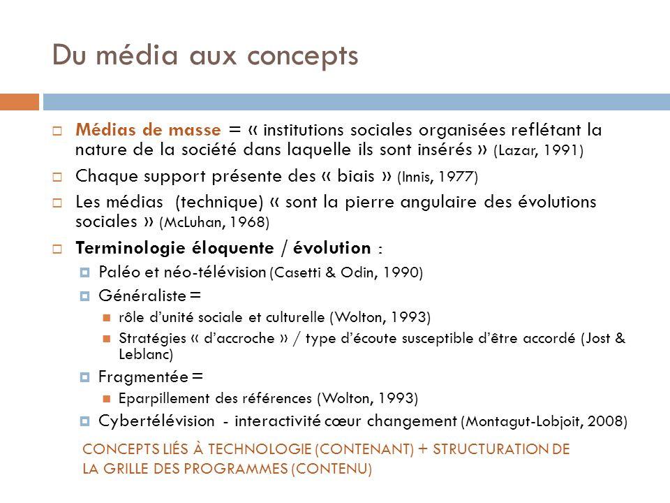 Du média aux concepts Médias de masse = « institutions sociales organisées reflétant la nature de la société dans laquelle ils sont insérés » (Lazar,