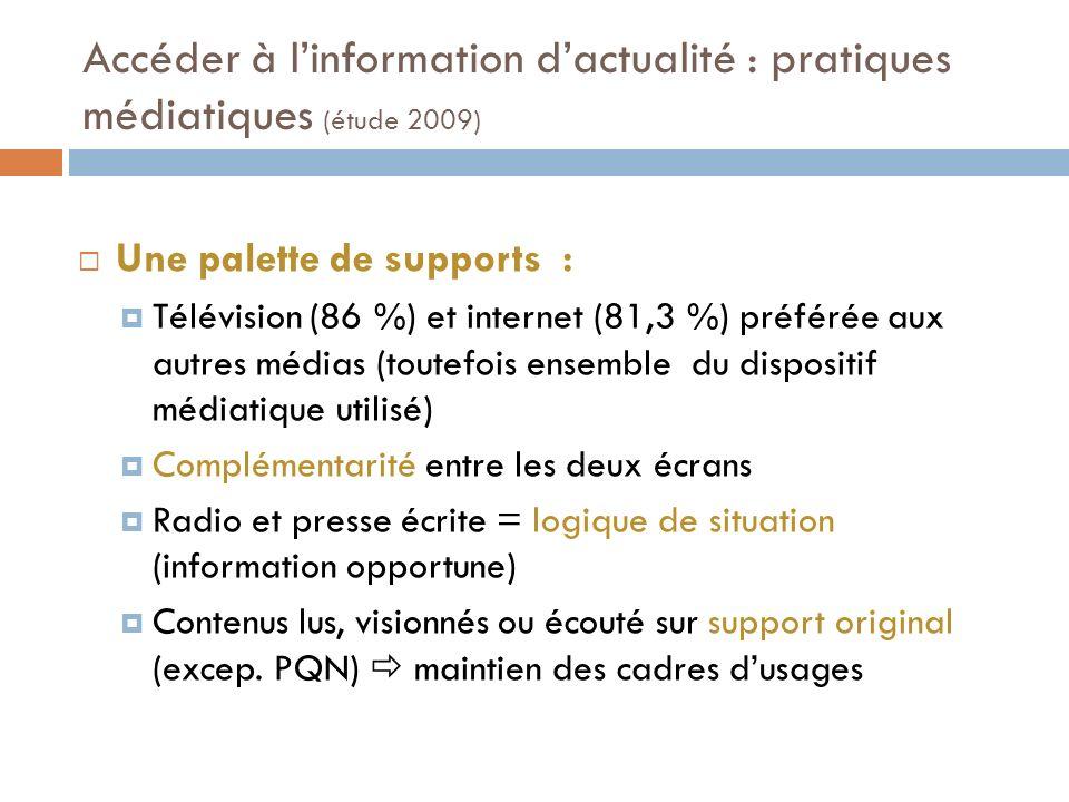Accéder à linformation dactualité : pratiques médiatiques (étude 2009) Les contenus, choisis ou subis en fonction des contextes et des supports : Télévision : référence du 20h et rassemblement au prime.