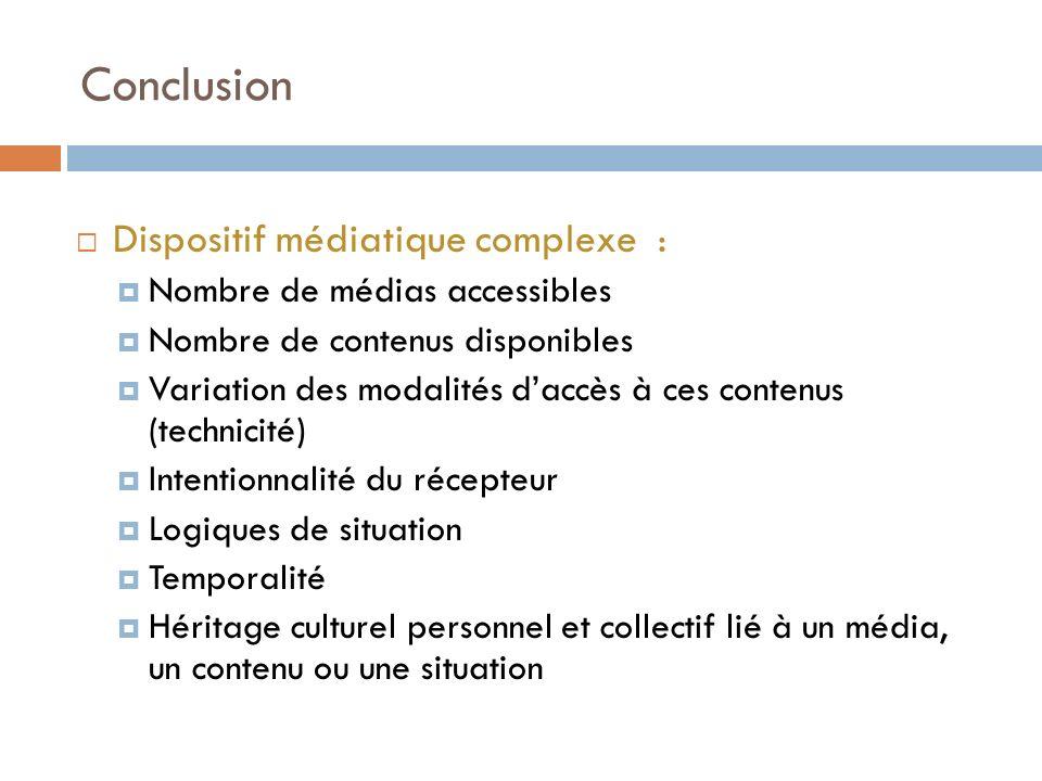 Conclusion Dispositif médiatique complexe : Nombre de médias accessibles Nombre de contenus disponibles Variation des modalités daccès à ces contenus