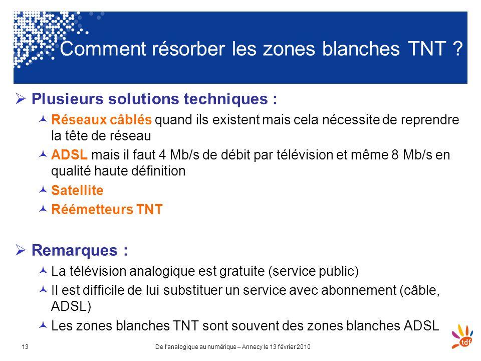 De l'analogique au numérique – Annecy le 13 février 201013 Comment résorber les zones blanches TNT ? Plusieurs solutions techniques : Réseaux câblés q