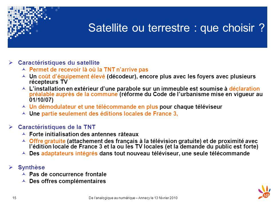 De l'analogique au numérique – Annecy le 13 février 201015 Satellite ou terrestre : que choisir ? Caractéristiques du satellite Permet de recevoir là