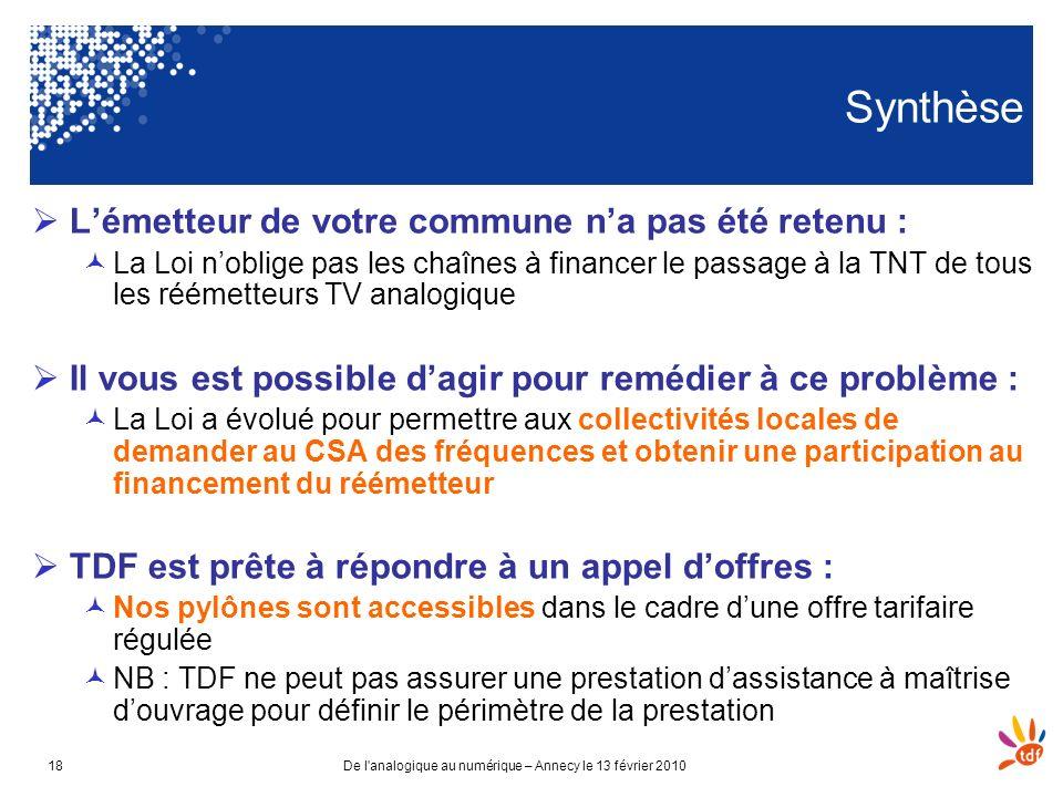 De l'analogique au numérique – Annecy le 13 février 201018 Synthèse Lémetteur de votre commune na pas été retenu : La Loi noblige pas les chaînes à fi