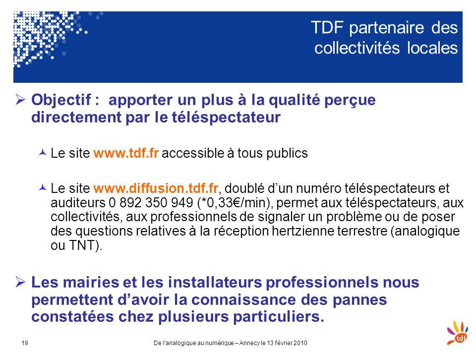 De l'analogique au numérique – Annecy le 13 février 201019 TDF partenaire des collectivités locales Objectif : apporter un plus à la qualité perçue di
