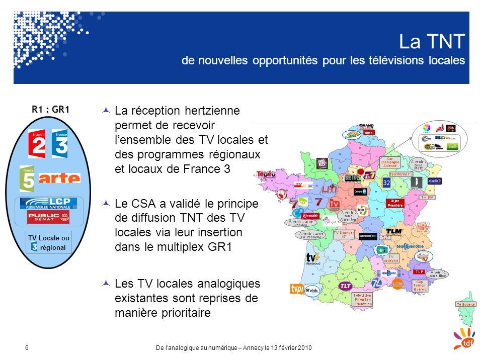 De l'analogique au numérique – Annecy le 13 février 20106 La TNT de nouvelles opportunités pour les télévisions locales La réception hertzienne permet
