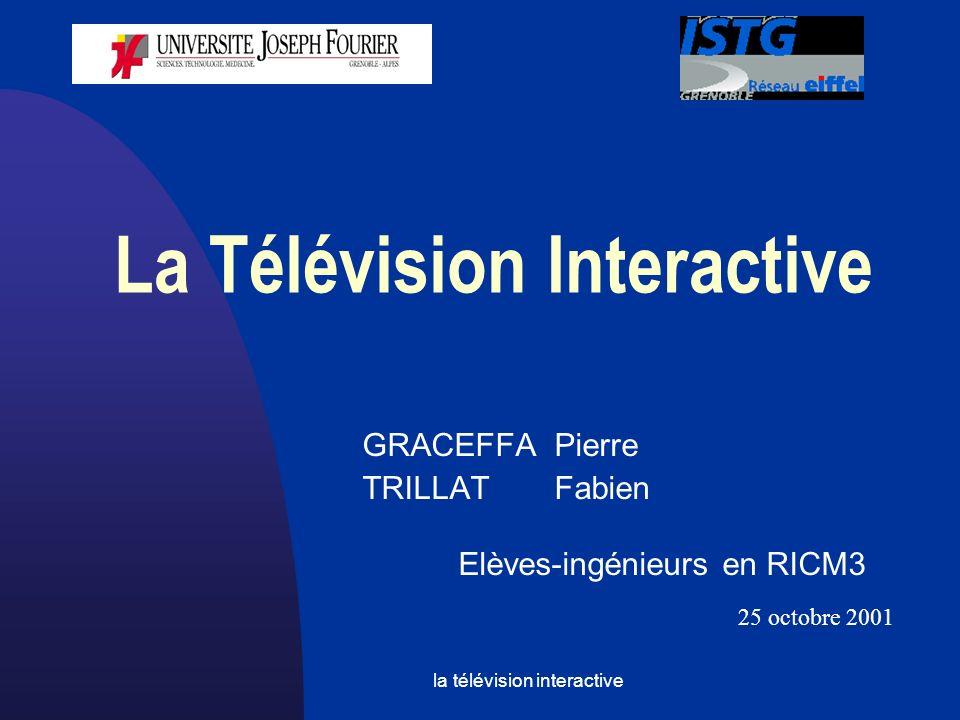 la télévision interactive Sommaire Les enjeux Le fonctionnement Les technologies utilisées Les 2 principales organisations Les avantages pour l utilisateur