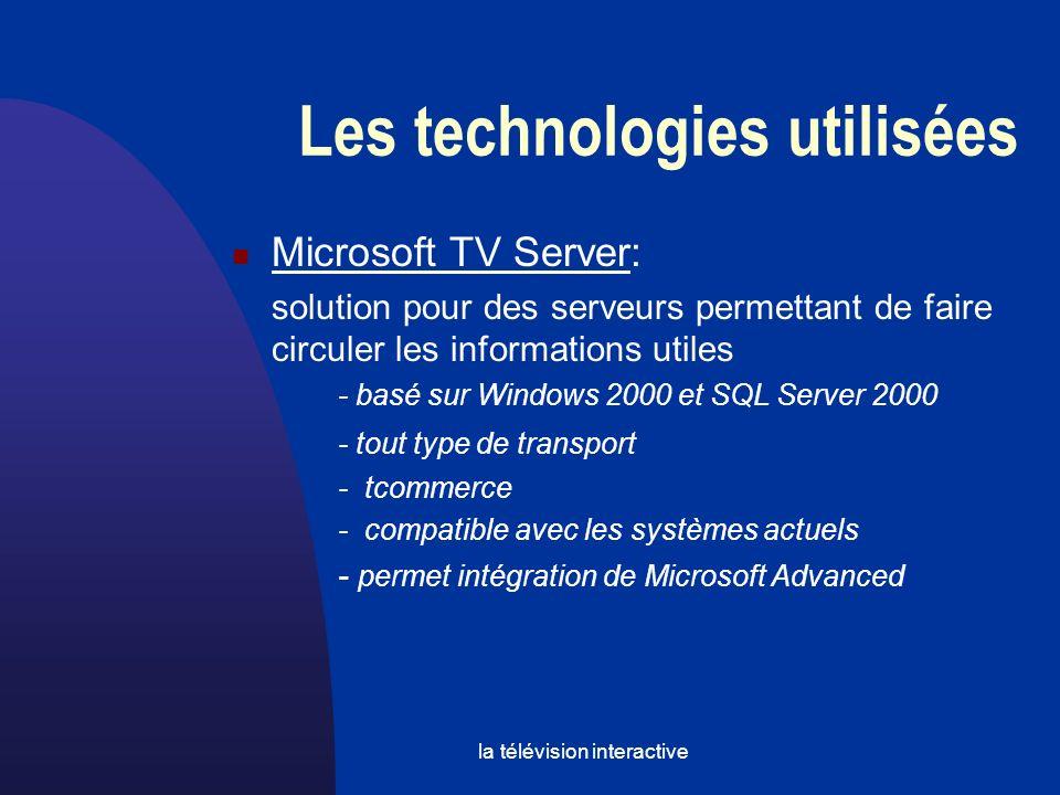 la télévision interactive Microsoft TV Server: solution pour des serveurs permettant de faire circuler les informations utiles - basé sur Windows 2000 et SQL Server 2000 - tout type de transport - tcommerce - compatible avec les systèmes actuels - permet intégration de Microsoft Advanced Les technologies utilisées