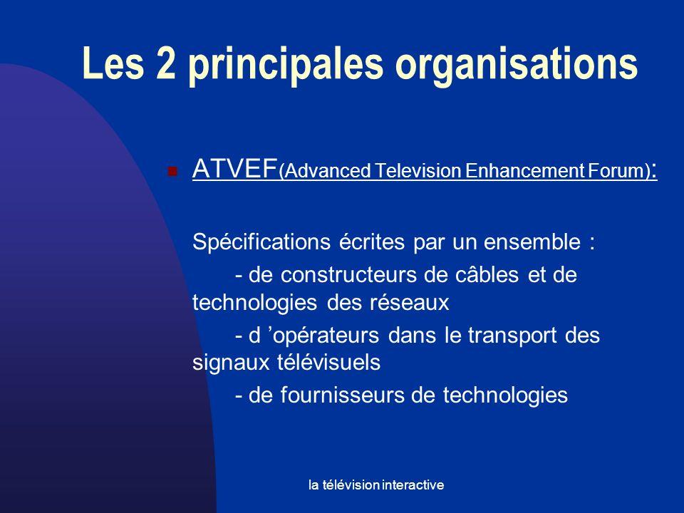 la télévision interactive Les 2 principales organisations ATVEF (Advanced Television Enhancement Forum) : Spécifications écrites par un ensemble : - de constructeurs de câbles et de technologies des réseaux - d opérateurs dans le transport des signaux télévisuels - de fournisseurs de technologies