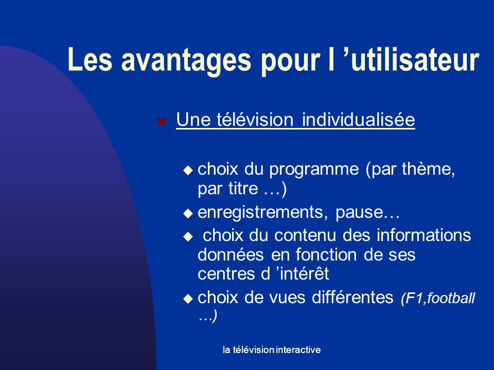 la télévision interactive Les avantages pour l utilisateur Une télévision individualisée choix du programme (par thème, par titre …) enregistrements, pause… choix du contenu des informations données en fonction de ses centres d intérêt choix de vues différentes (F1,football …)
