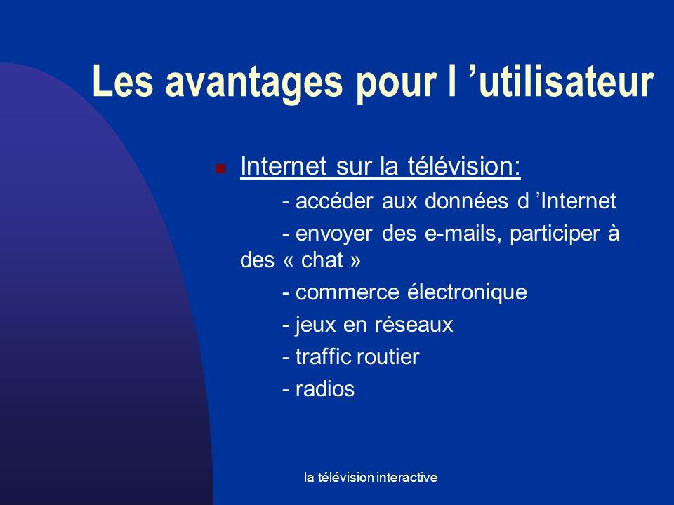 la télévision interactive Internet sur la télévision: - accéder aux données d Internet - envoyer des e-mails, participer à des « chat » - commerce électronique - jeux en réseaux - traffic routier - radios Les avantages pour l utilisateur