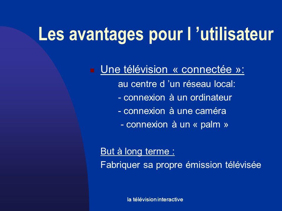 la télévision interactive Une télévision « connectée »: au centre d un réseau local: - connexion à un ordinateur - connexion à une caméra - connexion à un « palm » But à long terme : Fabriquer sa propre émission télévisée Les avantages pour l utilisateur