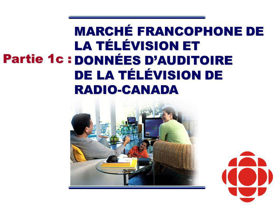 MARCHÉ FRANCOPHONE DE LA TÉLÉVISION ET DONNÉES DAUDITOIRE DE LA TÉLÉVISION DE RADIO-CANADA Partie 1c :