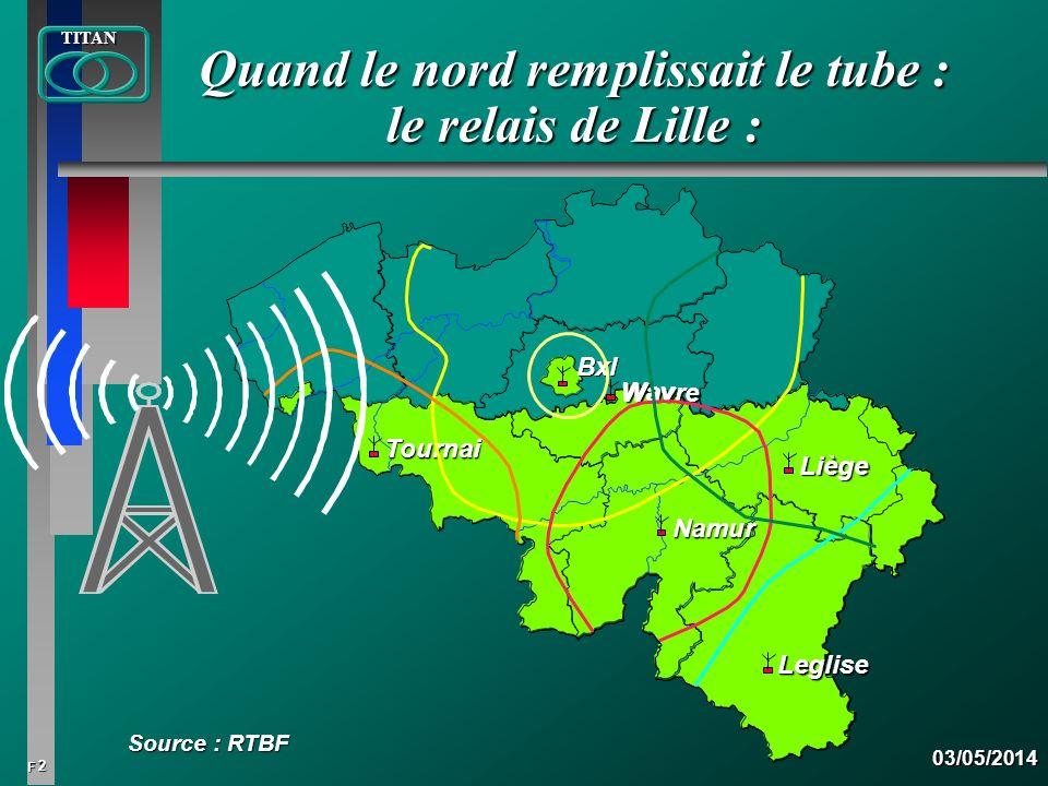2 FTITAN03/05/2014 Quand le nord remplissait le tube : le relais de Lille : Source : RTBF Bxl Wavre Wav Tou Tournai Namur Liège Leg Leglise