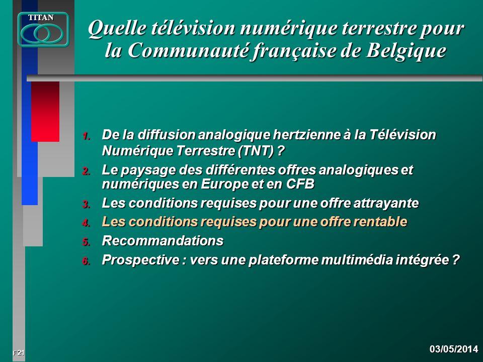 21 FTITAN03/05/2014 Quelle télévision numérique terrestre pour la Communauté française de Belgique 1. De la diffusion analogique hertzienne à la Télév