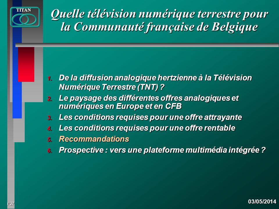 27 FTITAN03/05/2014 Quelle télévision numérique terrestre pour la Communauté française de Belgique 1. De la diffusion analogique hertzienne à la Télév